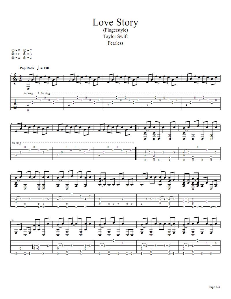 吉他谱Love Story Guitar Pro .pdf