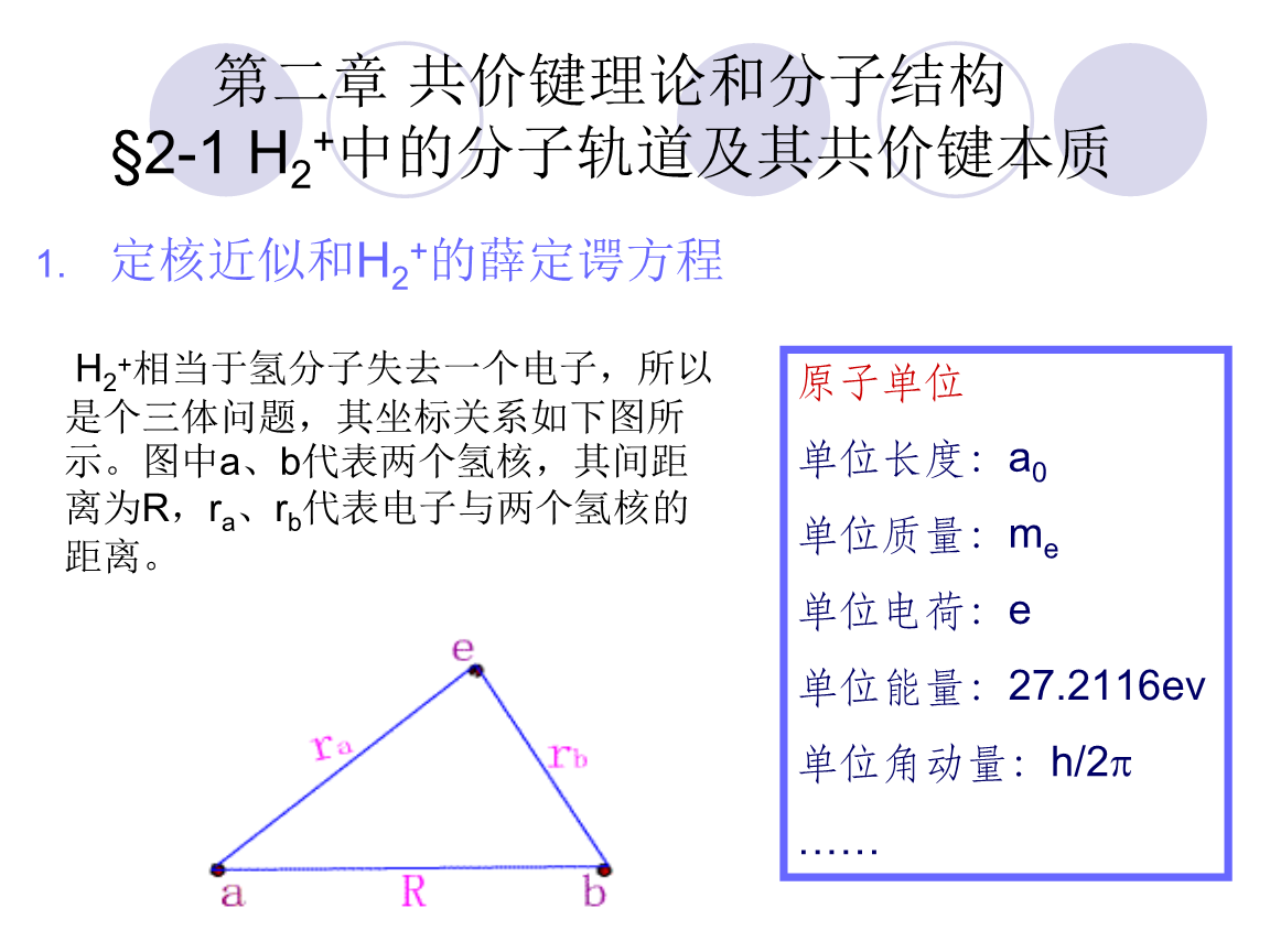 共价键理论和分子结构 2 1 H2 中的分子轨道及其共价键本质.ppt
